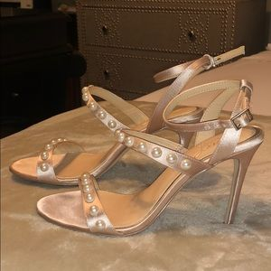Badgley Mischka Pearl Nude Satin ankle wrap heels